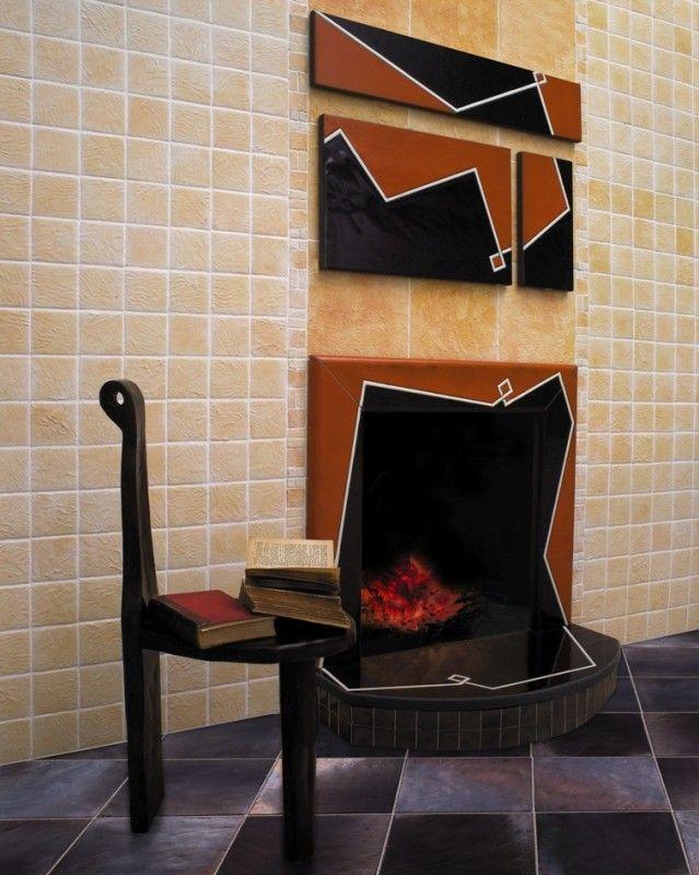 "lava stone fireplace signed by ceramica ""il pozzo"" Salerno Italy"