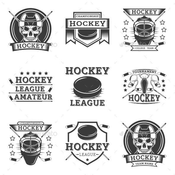 Set Of Vintage Sports Emblems Labels Badges And Logos Monochrome Style