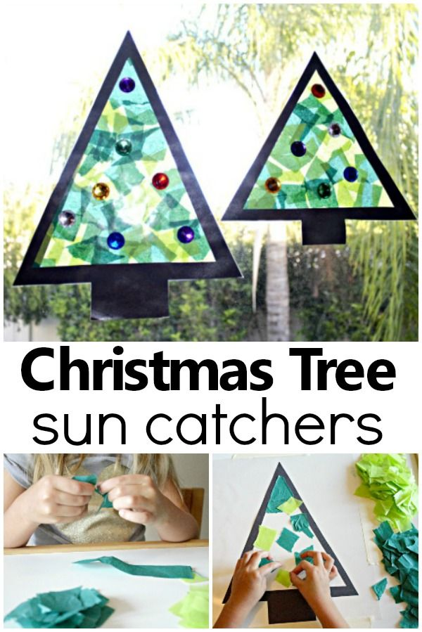 Christmas Tree Sun Catcher Holiday Craft - Fantastic Fun & Learning -   18 christmas crafts for kids preschool ideas