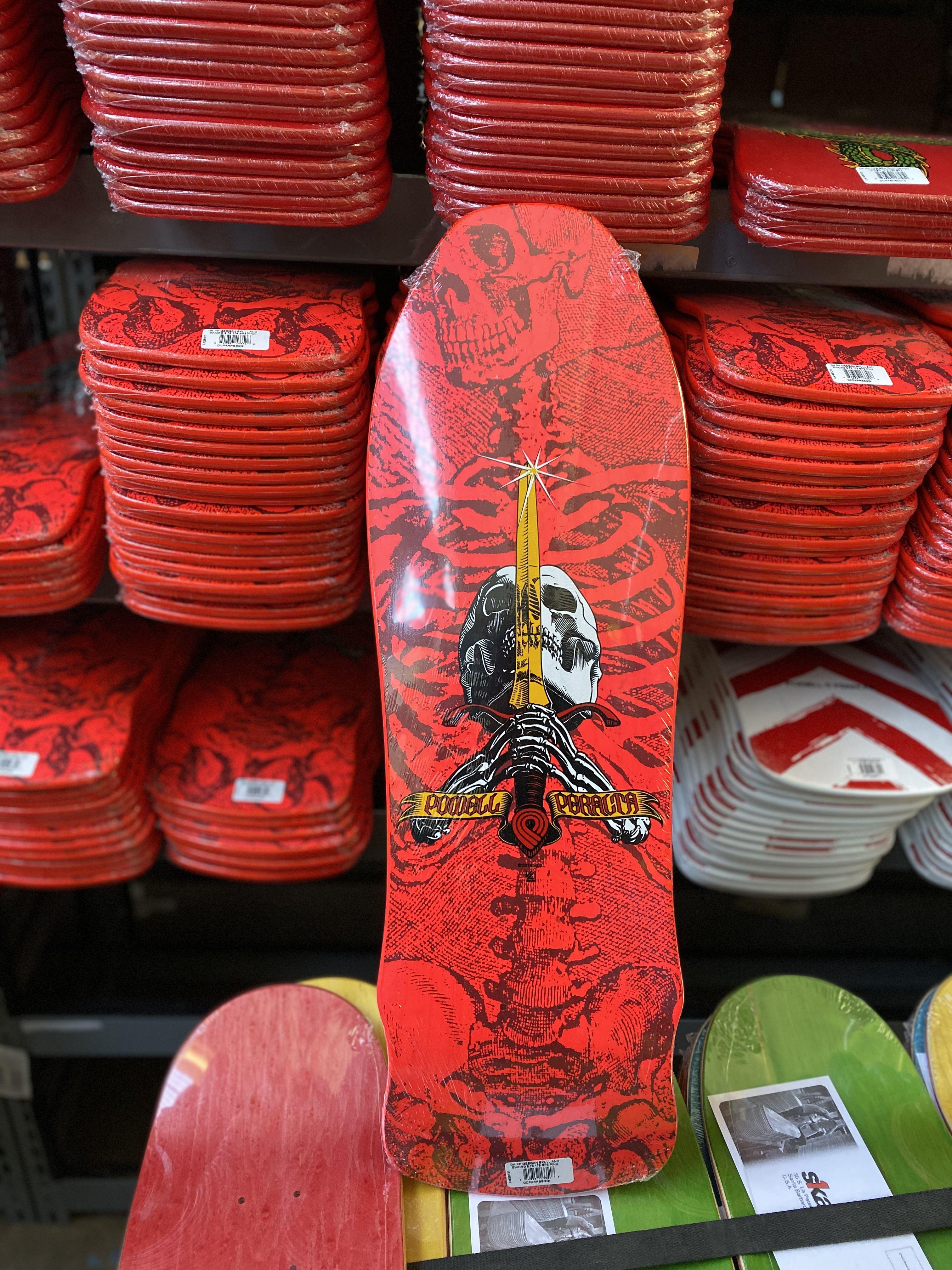 Powell Peralta Geegah Skull And Sword Skateboard Deck Pink 9 75 X 30 Skateboard Decks Skateboard Skateboard Deck Art