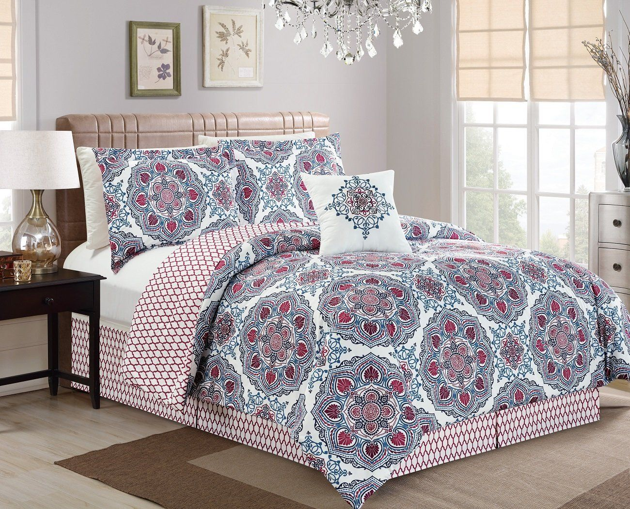 chezmoi collection pc reversible multicolor mandala medallion  - chezmoi collection pc reversible multicolor mandala medallion and quatrefoilbedding comforter set king