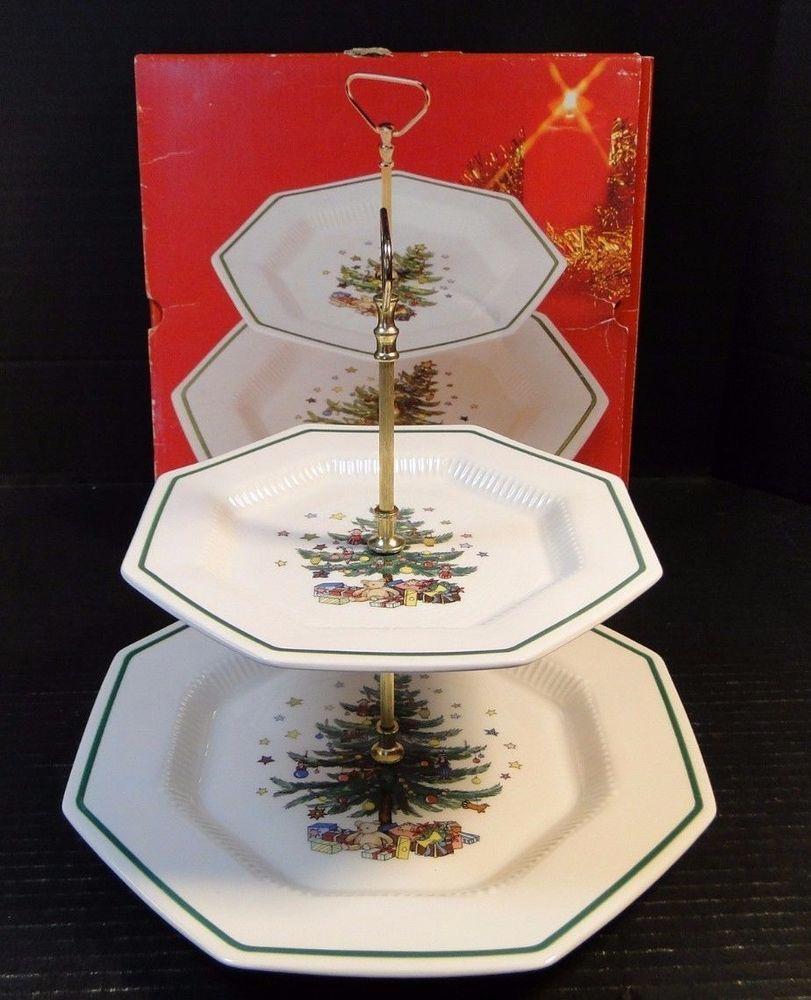 Nikko Christmastime Two Tier Tray Christmas Tree Pattern in Original Box & Nikko Christmastime Two Tier Tray Christmas Tree Pattern in Original ...