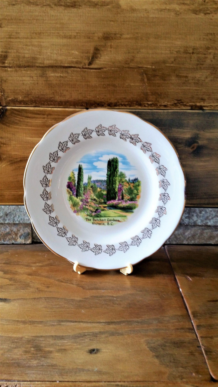Vintage Butchart Gardens bone china plate - Royal Darwood bone china England - Butchart Gardens collectible - Victoria, British Columbia #butchartgardens