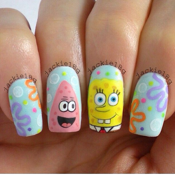 Instagram Photo By Jackie18g Best Spongebob Nails Ever Paintin