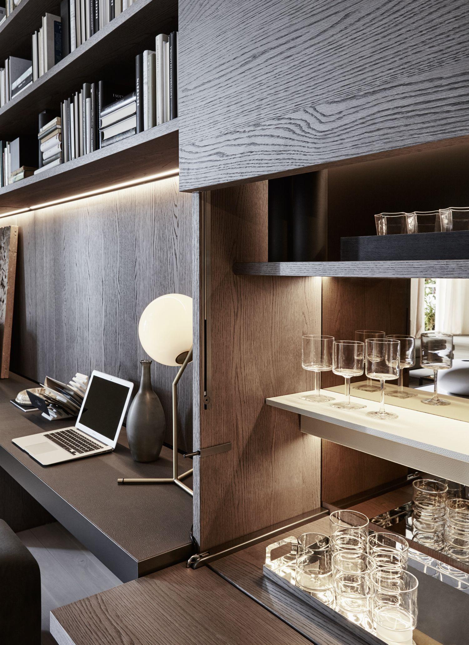 Paneles boiserie y barras de iluminaci n led interiores for Muebles para estudio