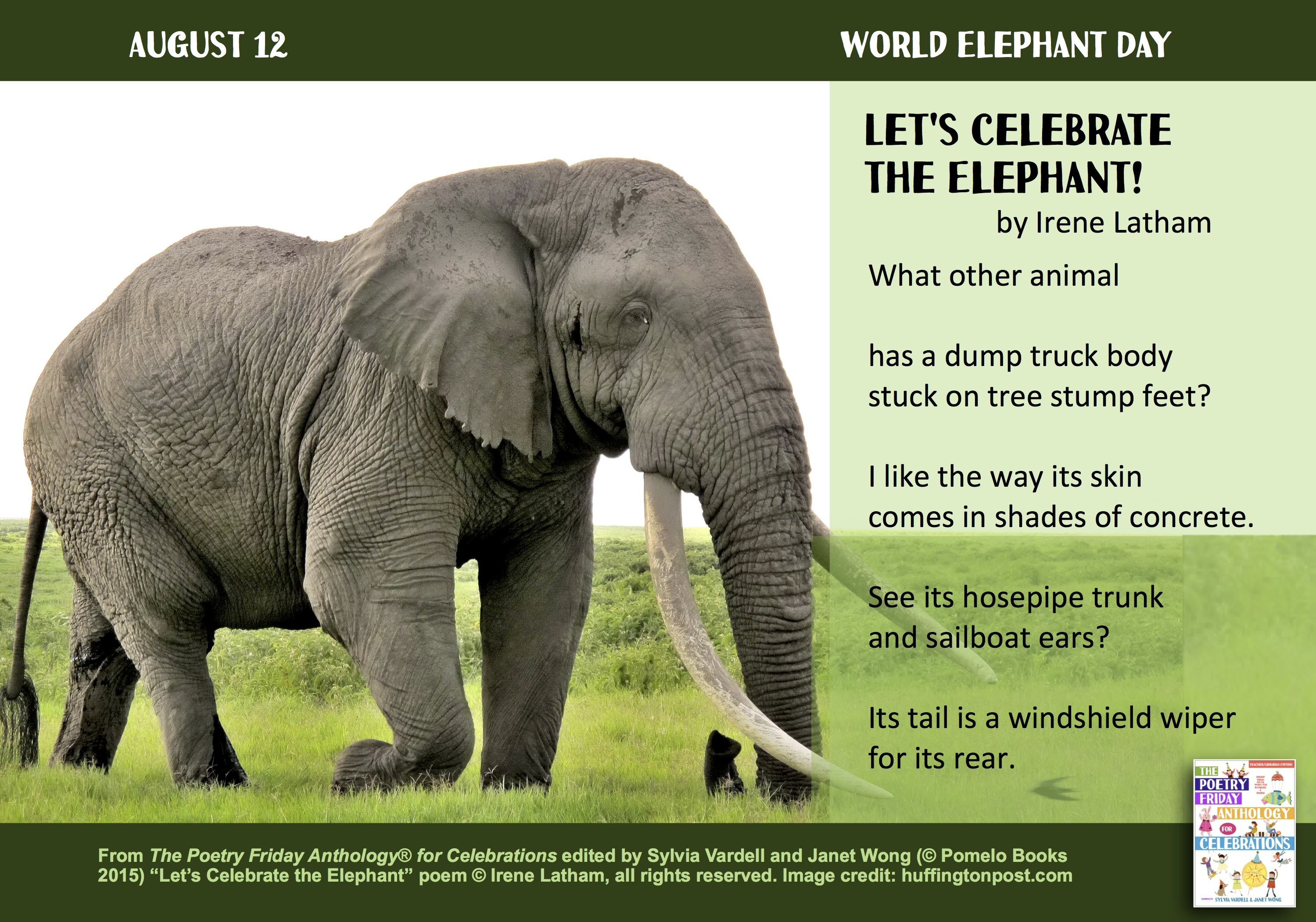 """Let's Celebrate the Elephant!"" with this poem by Irene Latham  from THE POETRY FRIDAY ANTHOLOGY® FOR CELEBRATIONS edited by Sylvia Vardell and Janet Wong (Pomelo Books, 2015)"
