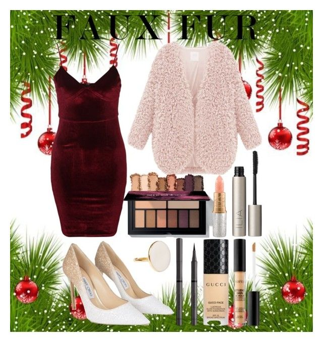 """""""Christmas Party : Faux Fur"""" by magriatrix ❤ liked on Polyvore featuring Glamorous, Mariah Carey, Ilia, Jimmy Choo, Burberry, Gucci and Smashbox"""