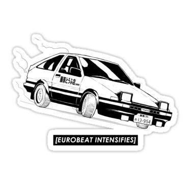 Eurobeat Intensifies Ae86 Kansei Dorifto Initial D Car Sticker By Bakayaro Initial D Car Initial D Anime Stickers