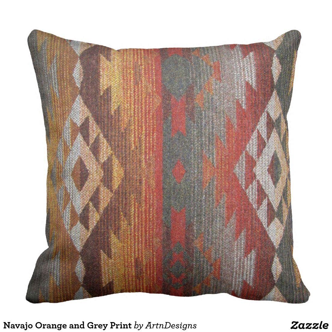 Navajo Orange And Grey Print Throw Pillows Printed
