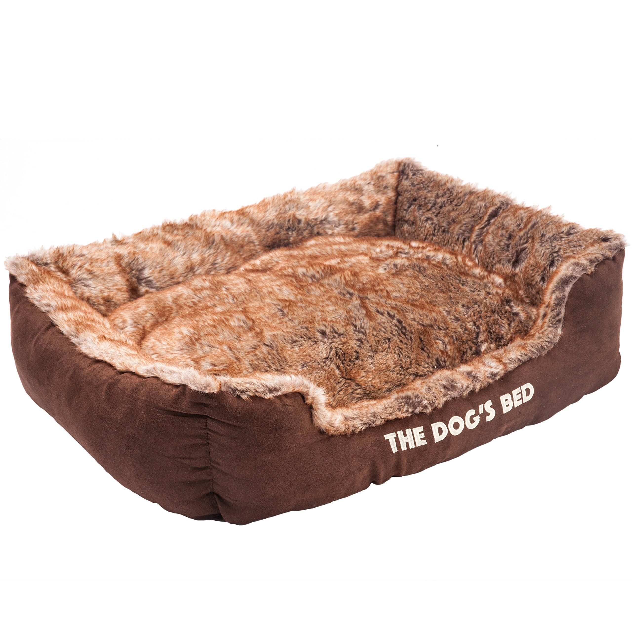 The Dog's Bed Premium Plush Soft Dog Bed Brown XL Fully