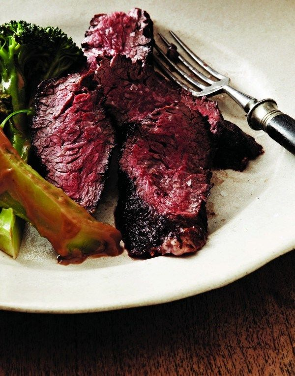 RECIPE: Alex Guarnaschelli�s Seared Hanger Steak with Marinated Broccoli and Balsamic-Raspberry Vinaigrette