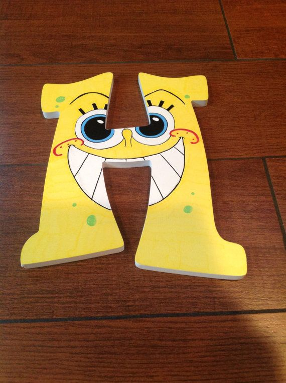 Spongebob decorated wooden wall letters are a great gift idea for spongebob decorated wooden wall letters are a great gift idea for anyone they measure 9 in height x 65 wide can be used for room decor aloadofball Choice Image