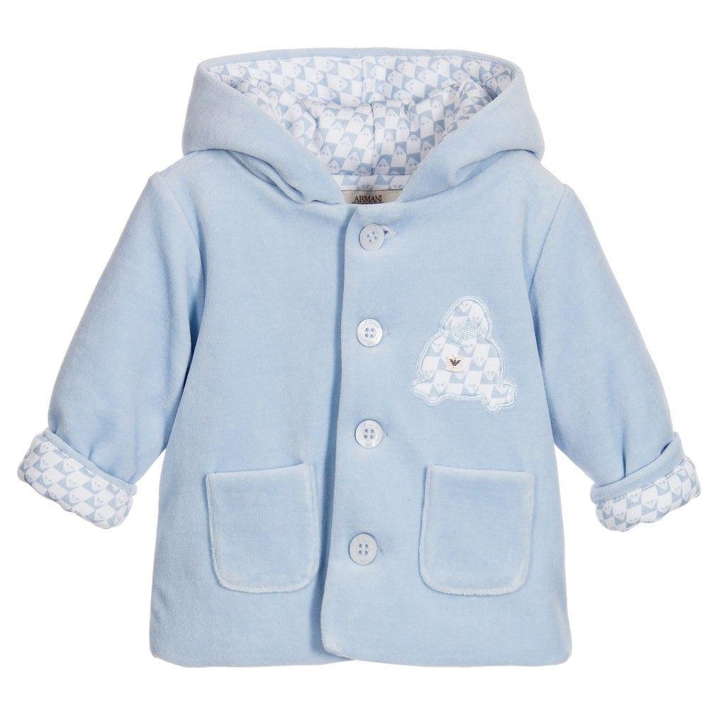 90437508bad2 Armani Baby Boys Blue Velour Padded Jacket at Childrensalon.com ...