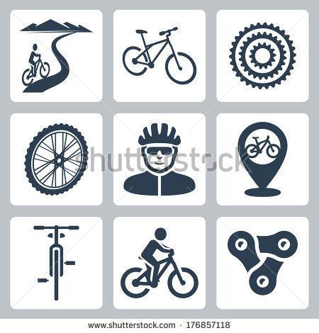 Vector bicycling, cycling icons set by Alexandr III, via Shutterstock