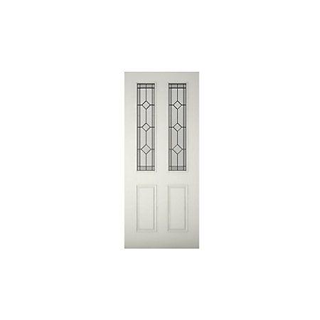 4 Panel Primed Glazed Front Door & Frame with Letter Plate, (H ...