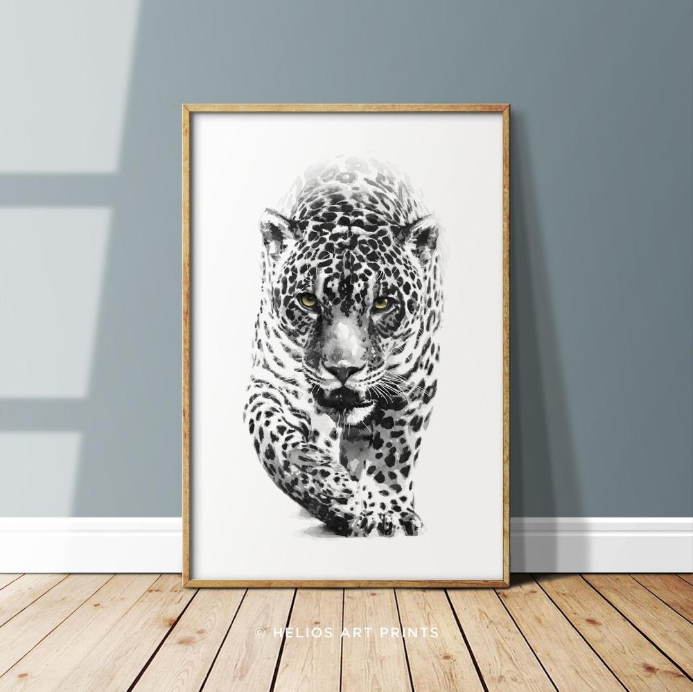 Jaguar Watercolour Art Print Black And White Big Cat Wall Art Etsy Big Cat Wall Art Watercolor Art Prints Cat Wall Art