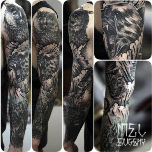 Evgeny Mel Inked Magazine Sleeve Tattoos Bear Tattoo Tattoos