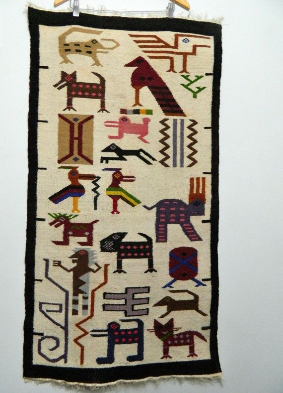 Reserved Large Ethnic Woven Wall Hanging Rug South American