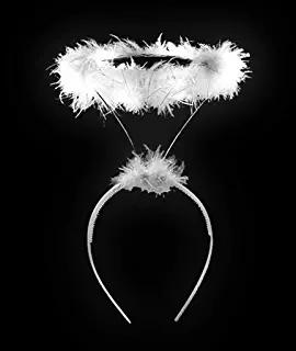 WHITE ANGEL HALO HEN NIGHT CHRISTMAS FANCY DRESS COSTUME ACCESSORY NATIVITY