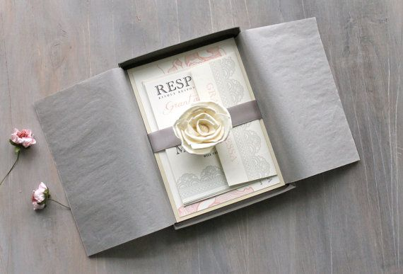 Box Of Wedding Invitations: Elegant Boxed Wedding Invitations, Romantic Luxury Wedding
