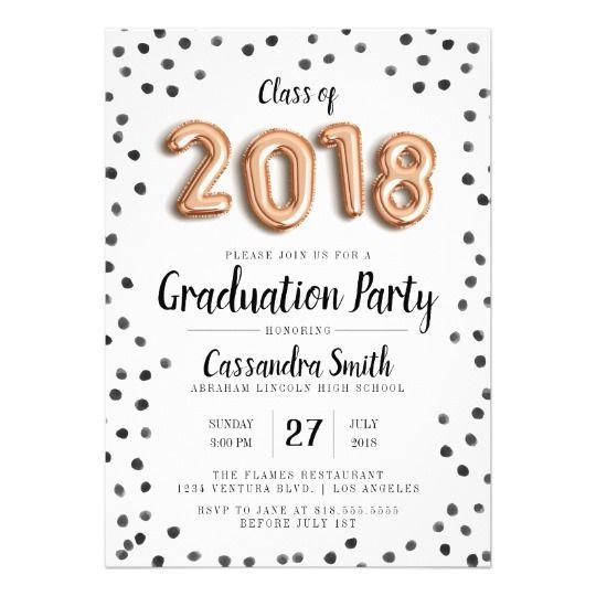 Modern Class of 2018 Balloons - Grad Invite | Zazzle.com
