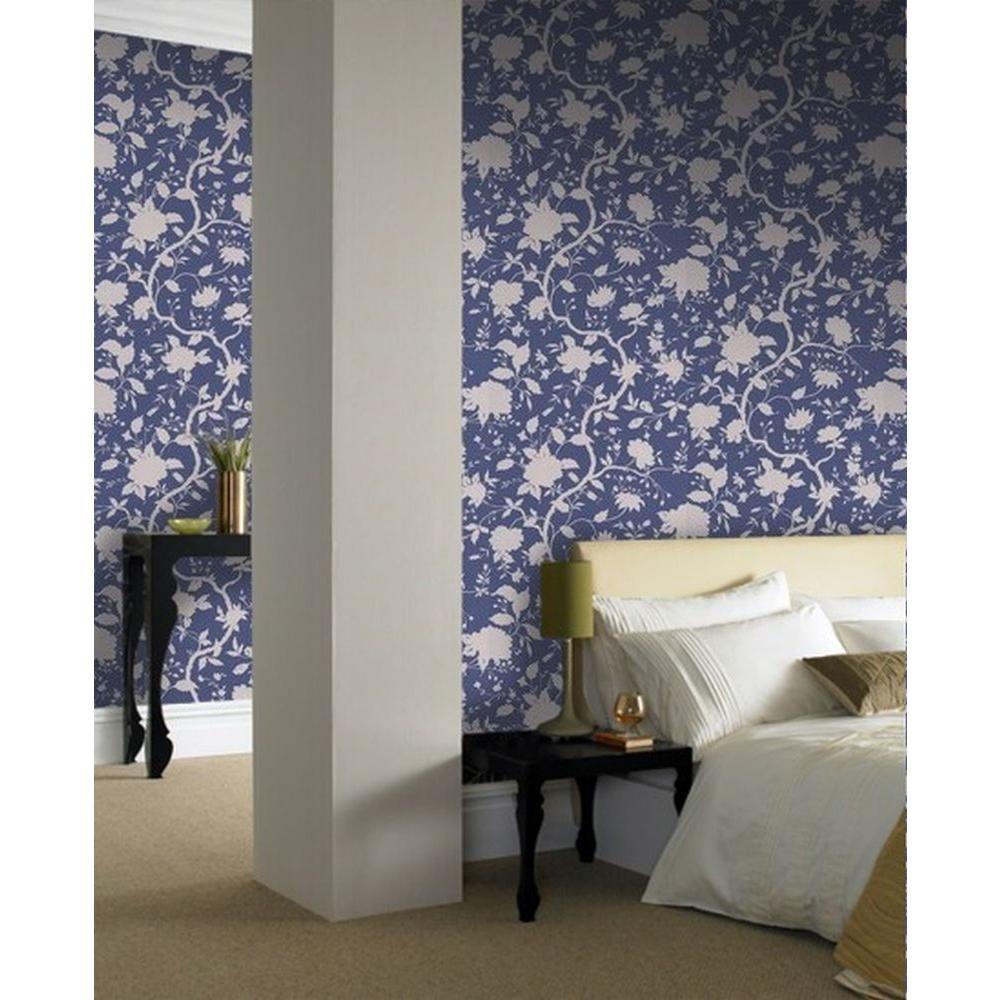 Botanical Floral Wallpaper, Prussian Blue