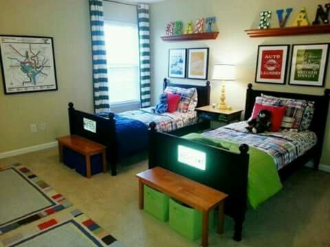 Boys Love Color In New Rental Home Shared Bedroom For My 5 6 Year Old Sons Trying To Create A Nice Colorful Space Within The Limitations