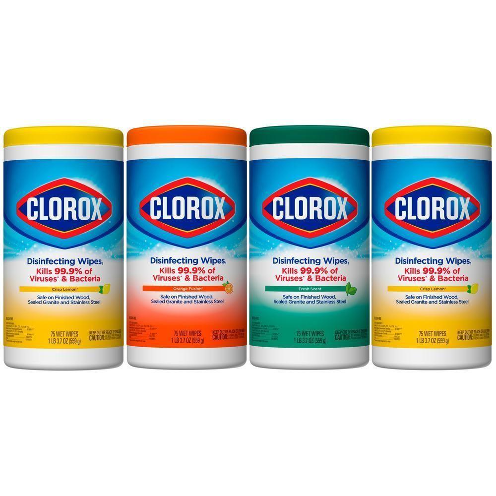 Disinfecting wipes 4 pack 75count crisp lemonfresh scent