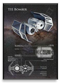 TIE Bomber Poster, Star Wars Ship, Star Wars Poster, Star Wars Patent, Star Wars Blueprint, Star Wars Print, Star Wars Art