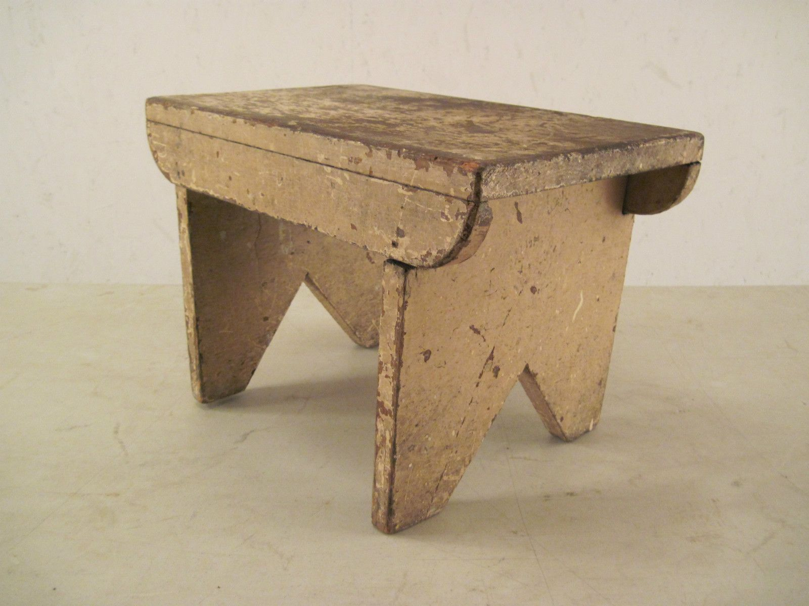 Vtg Antique Old Primitive Foot Stool Bench Chair Folk Art Step Cricket Farm Milk Ebay Patina