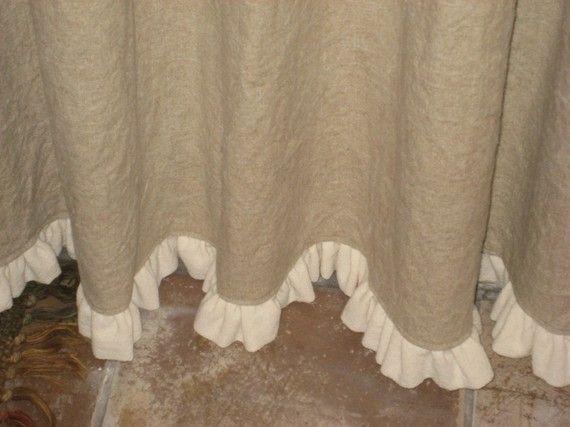 Ruffled Linen Shower Curtain #burlapwindowtreatments