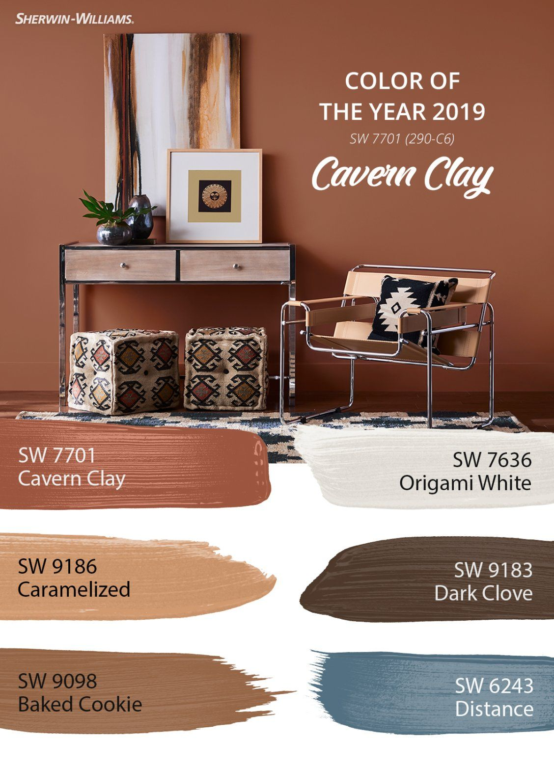 hidden among the wanderer palette is the 2019 color of the year cavern clay sw 7701 wherever. Black Bedroom Furniture Sets. Home Design Ideas
