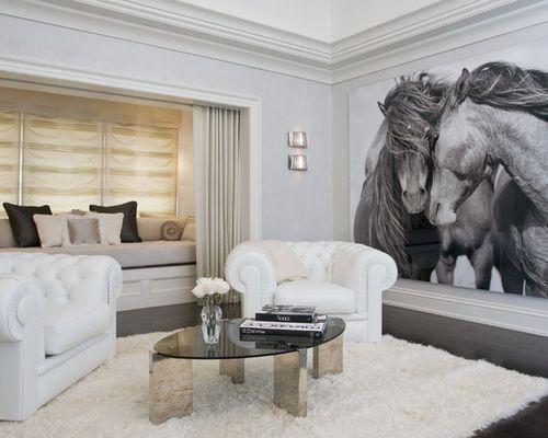 Idées déco pour une salle de séjour contemporaine avec un mur gris ...