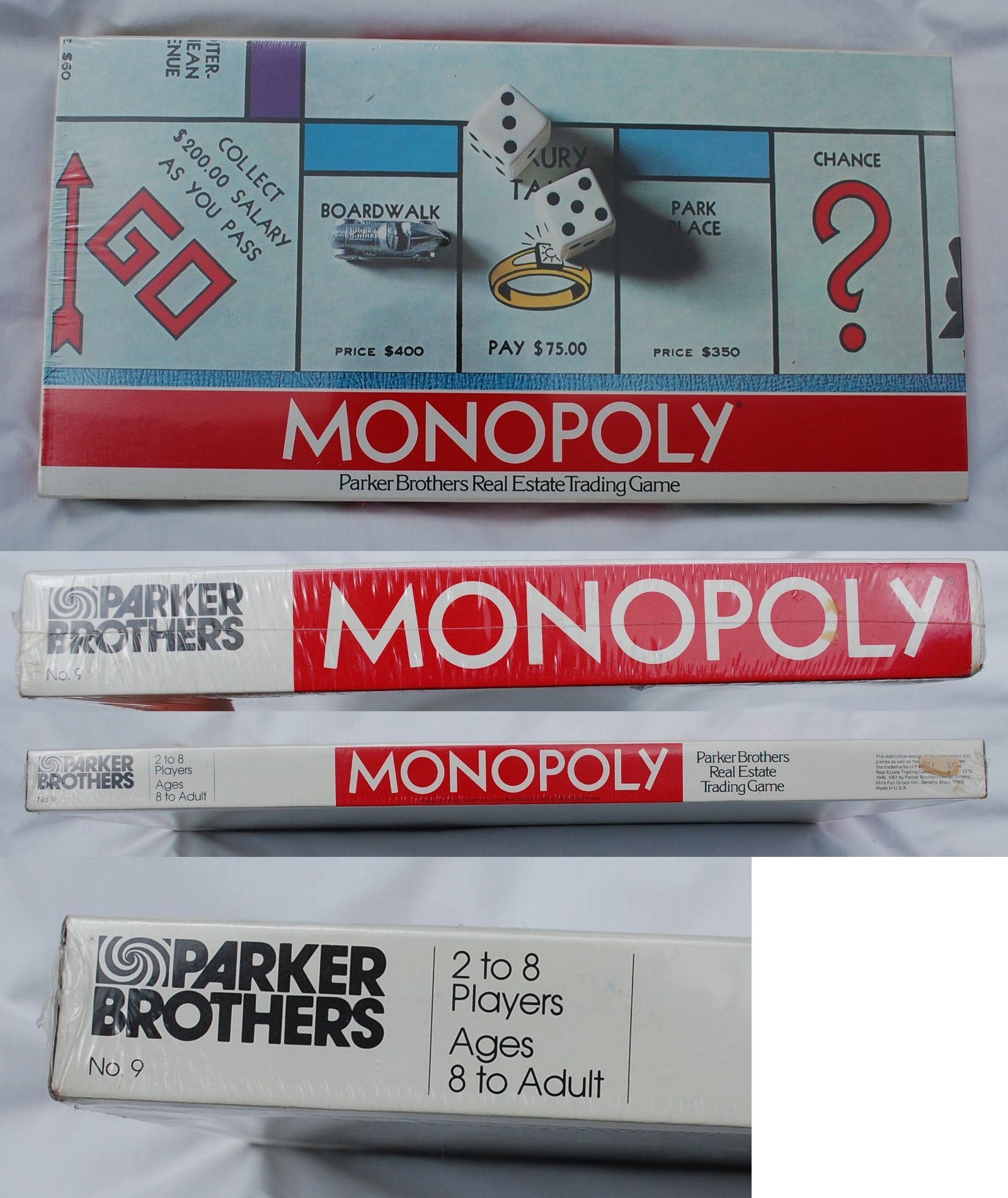 Vintage manufacture 19100 1961 edition vintage parker brothers monopoly board game 9 new