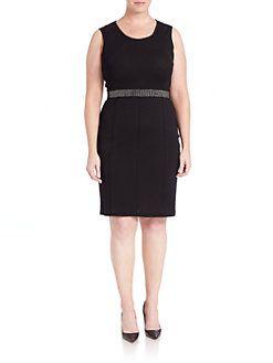 Stizzoli, Plus Size - Knit Beaded-Trim Dress   Dresses ...
