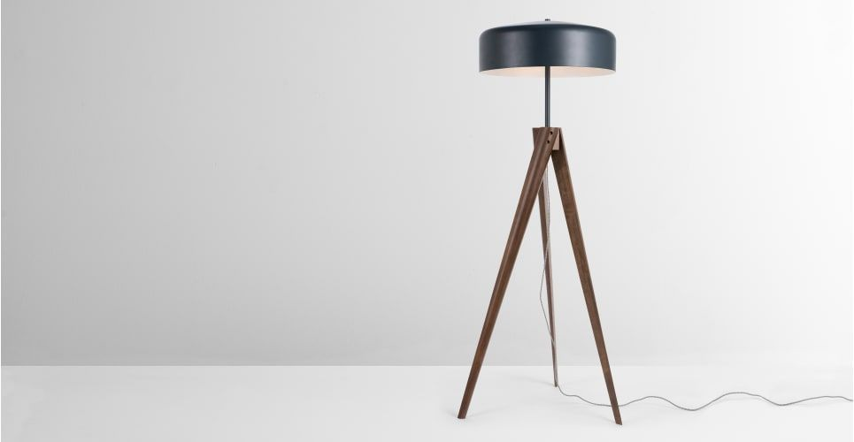 Madison Floor Lamp Navy Blue And Dark Wood Made Penthouse