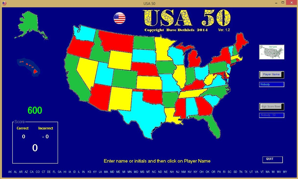 USA game to help learn states and capitals (Visual Basic 6.0)