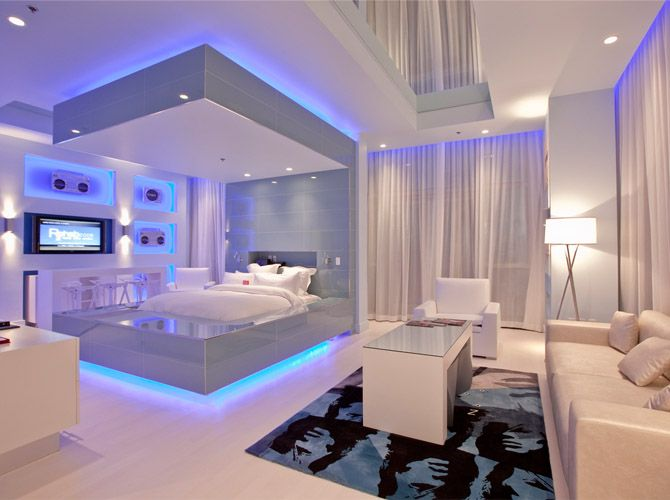 LED Blue Rope Lights Paired With Soft White Walls Create The Perfect Modern  Day Bedroom For