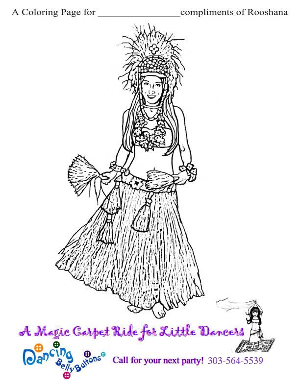 Hula Dancer Coloring Page Colorir