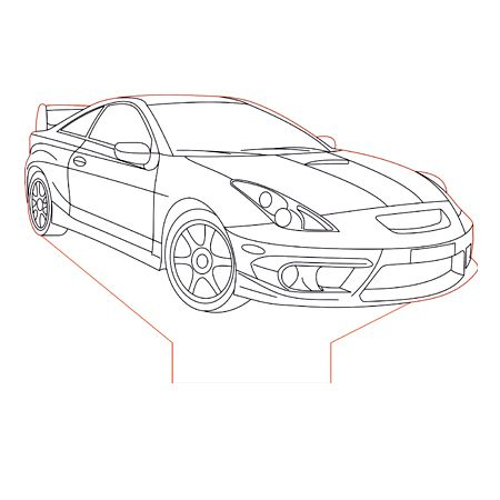 Toyota Celica 3d Illusion Lamp Plan Vector File