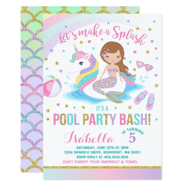 Unicorn & Mermaid Pool Party Birthday Invitation   Zazzle com - Pool party birthday invitations, Mermaid pool parties, Pool birthday party, Unicorn pool party, Pool party invitations, Mermaid birthday invitations - Unicorn & Mermaid Pool Party Birthday Invitation   All designs are © PIXEL PERFECTION PARTY LTD