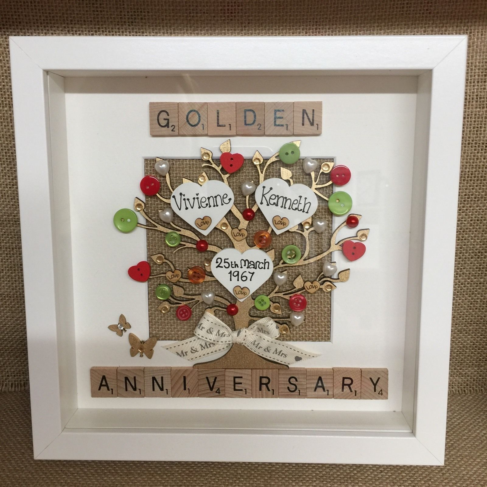 Golden Wedding Gift Ideas Uk: Details About BOX FRAME SCRABBLE LETTERS RUBY GOLDEN