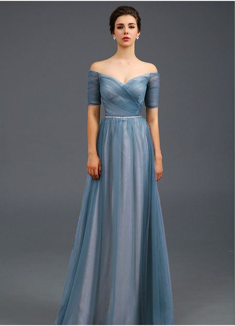 Light Blue Off the shoulder Evening Dress,A Line Formal Dress ...