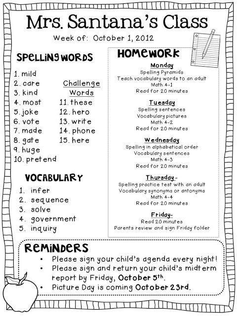 Weekly Homework Freebie  Reading    Homework School