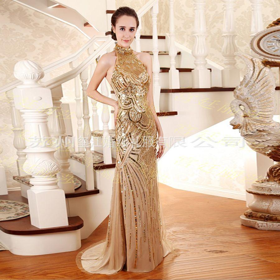 Click to buy ucuc vestidos de noite longos new high neck lace