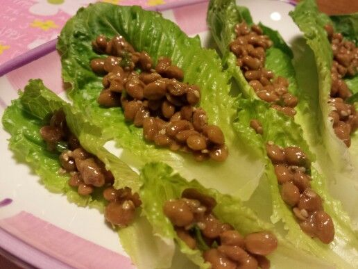 Natto (fermented soy beans) lettuce wraps!  Mix soy sauce, sesame seeds and green onions with natto and enjoy with crispy lettuce leaves!