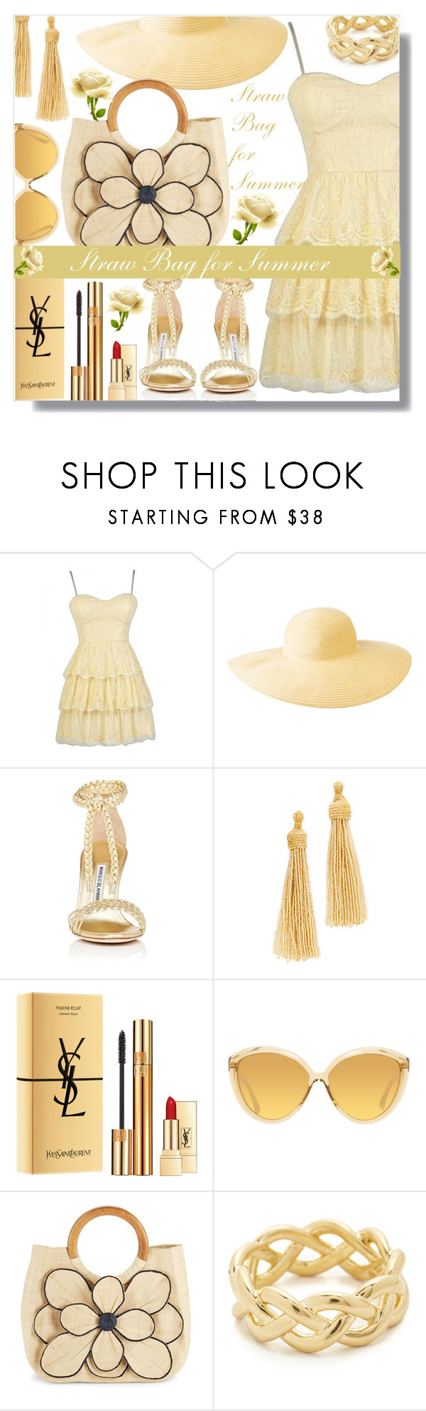 """Straw Bag for Summer - Contest!"" by sarahguo ❤ liked on Polyvore featuring Columbia, Manolo Blahnik, Kenneth Jay Lane, Yves Saint Laurent, Linda Farrow, Mar y Sol and Soave Oro"
