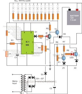 Led Emergency Light Circuit With Battery Over Charge Protection Electronic Circuit Projects Led Emergency Lights Electronic Circuit Projects Circuit Projects