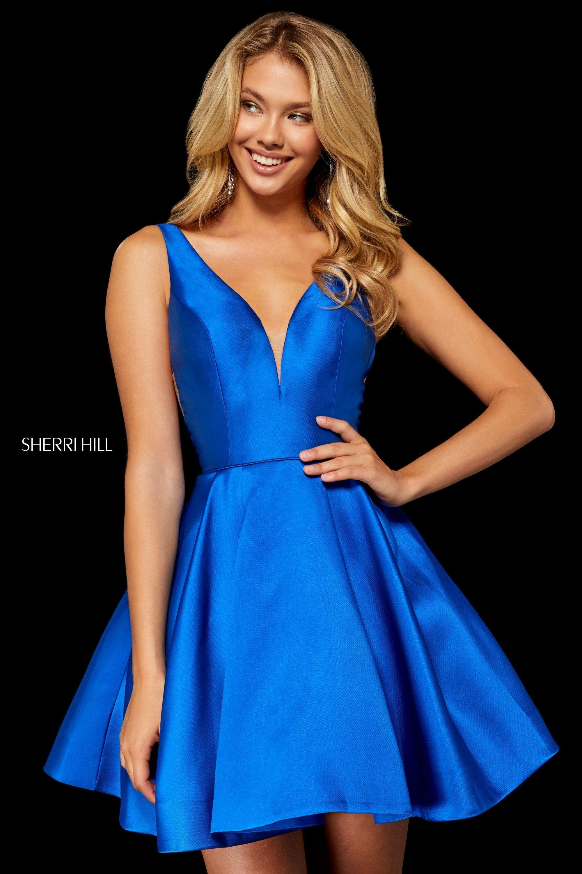 f61cb3e4166 Dance with your friends in Sherri Hill 52179. This darling satin party dress  has a plunge illusion
