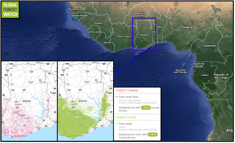 Global Forest Watch shows most of Ghana's logging - which stripped nearly 9 percent of its dense tree cover in 14 years - is occurring primarily in the country's south. This also happens to be where most of Ghana's forest still exists.